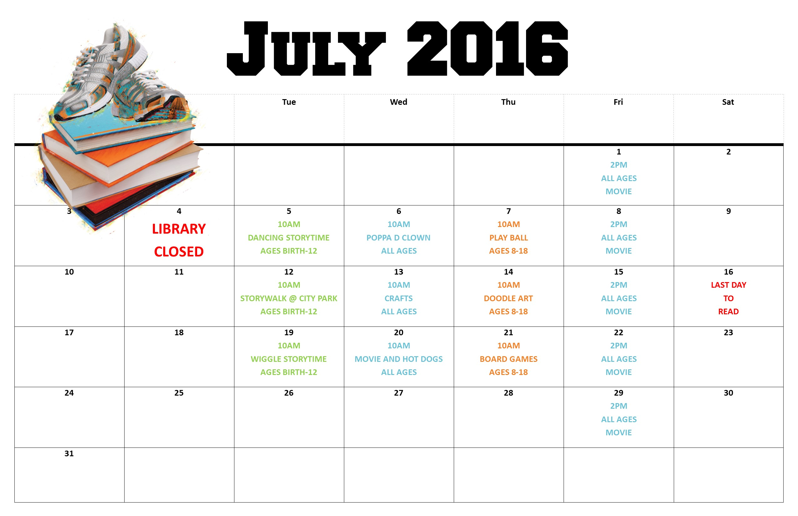 CALENDAR OF EVENTS - JULY 2016