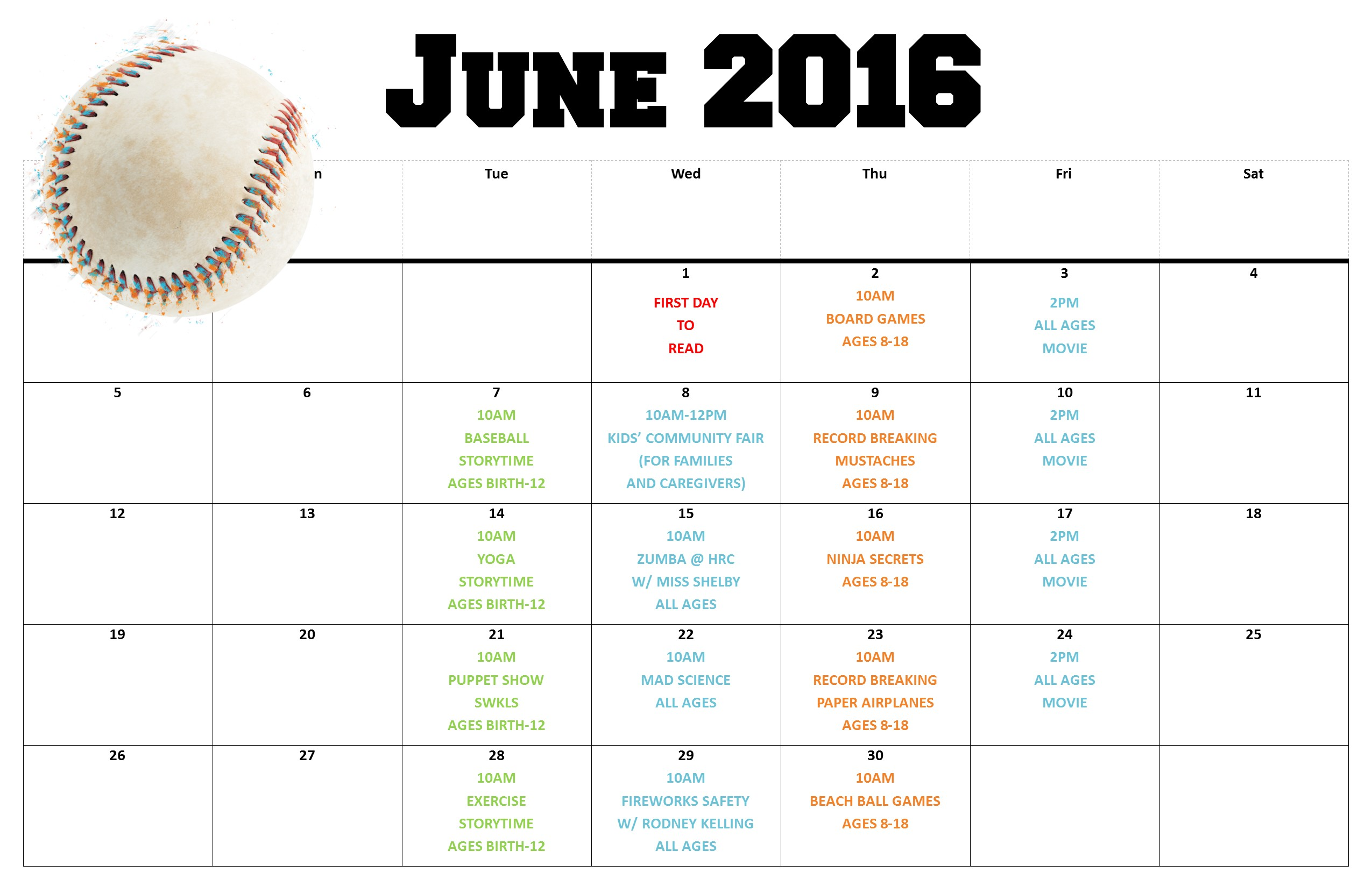 June Calendar Events : Summer reading schedule