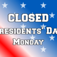 We will be closed on Monday, February 20 in honor of Presidents' Day. No library items will be due that day, but our outside book drop is available 24/7 to return books, DVDs, audios, and any other library items that will fit!