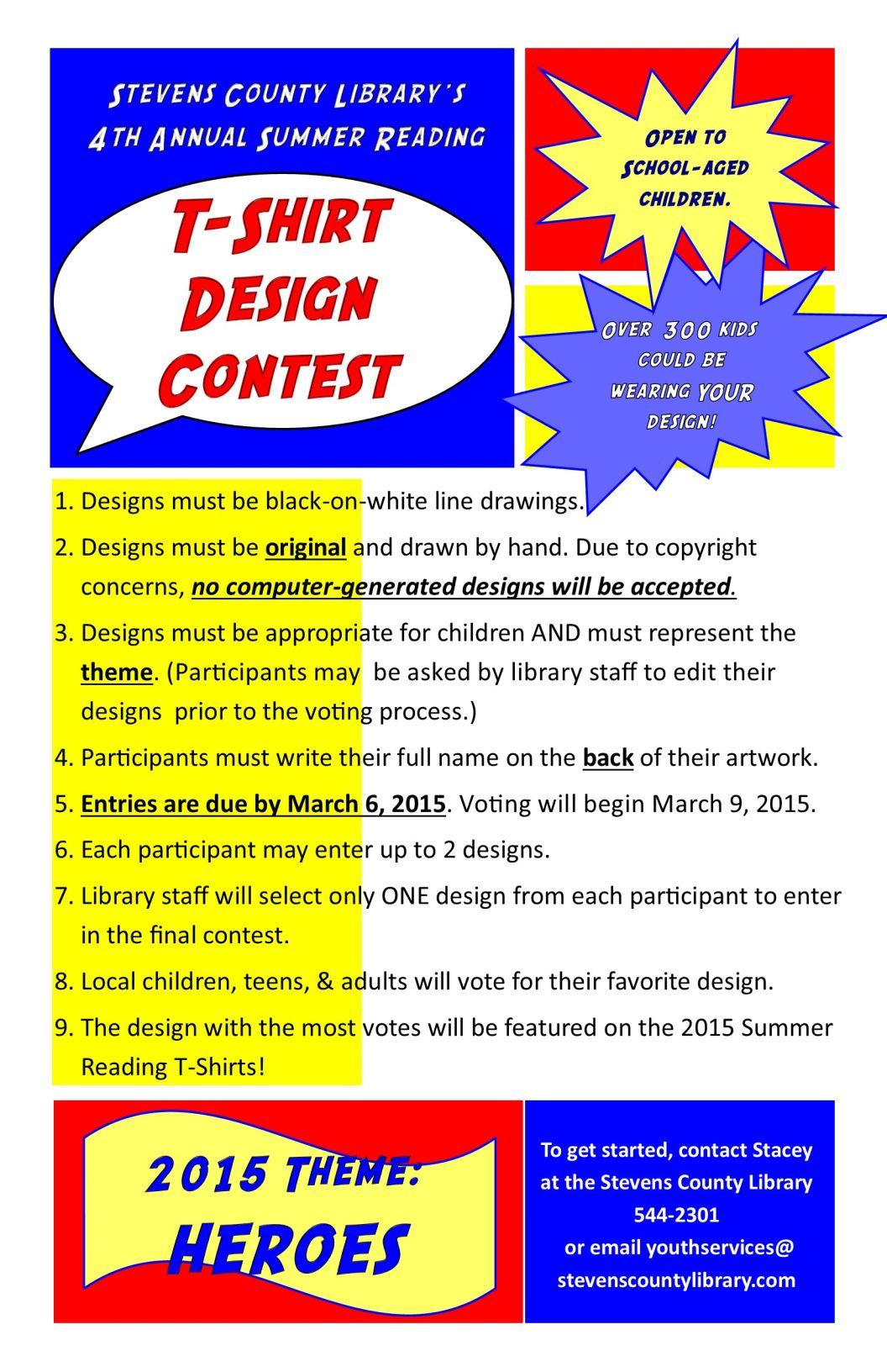 2015 summer reading t shirt design contest for T shirt design contest flyer